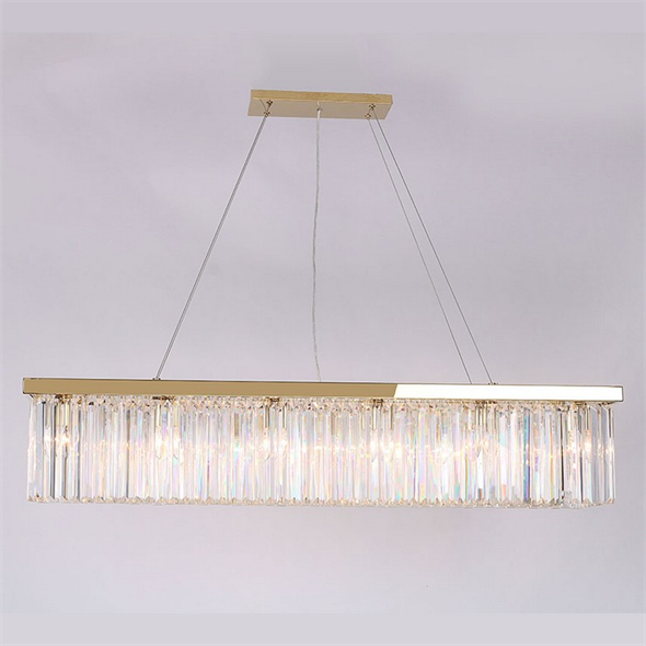 Подвесной светильник New York, Gold Clear crystal L120*28*H23/223 cm - фото 10189