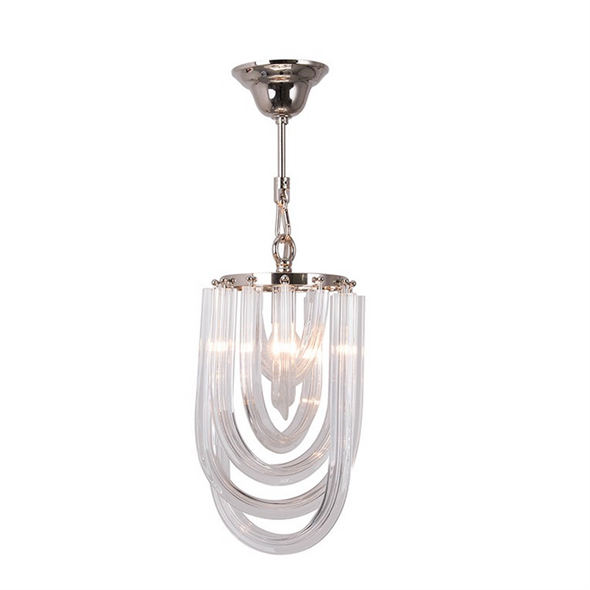 Подвесной светильник Orlando, Polished nickel Clear glass D20*H35 см - фото 11010