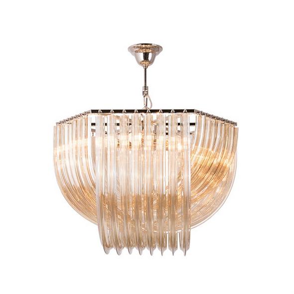 Подвесной светильник Orlando, Polished nickel Cognac glass D65*H46 см - фото 11020