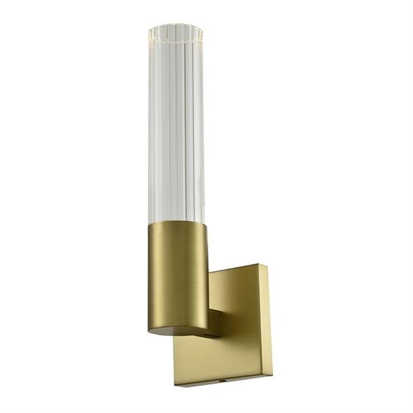 Бра Newark, Matt brass Clear glass shade L12*H37.5*Sp20.3 cm - фото 11040