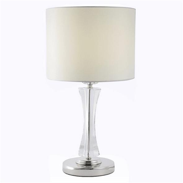 Настольная лампа Dallas, Nickel Clear crystal Shade beige D23*H52 cm - фото 24404