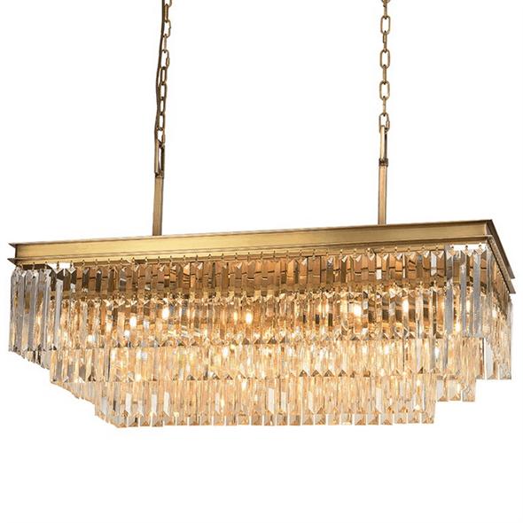 Подвесной светильник Portland, Brass Clear crystal 88*40*H35/135 cm - фото 24878