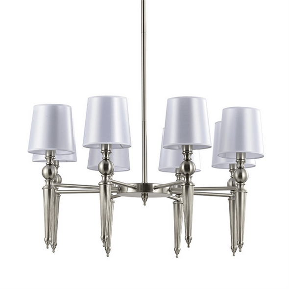 Люстра American style, Satin nickel Clear crystal Shade white D80*H48 сm - фото 24967