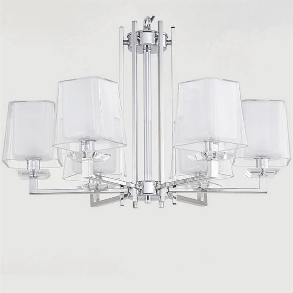 Люстра Reno, Chrome Glass clear/matt white D70*H45 cm - фото 25203