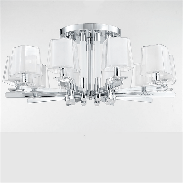 Потолочный светильник Plano, Nickel Glass clear/matt white D96*H42 cm - фото 25436