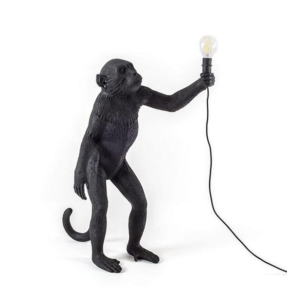 Торшер Обезьяна с Лампой Monkey Black Floor Lamp - фото 7792