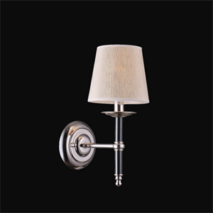 Бра American style, Nickel with  black elements Shade beige L16*H36*Sp23 cm