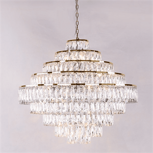 Люстра Los Angeles, Polished champagne gold Clear crystal D80*H72/172 cm