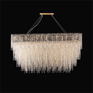Люстра San Antonio, Polished champagne gold Clear crystal 127*54*H60 cm+ 2 steel cables 4 m