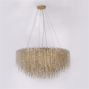 Люстра San Antonio, Polished champagne gold Clear crystal D85*H36/136 cm