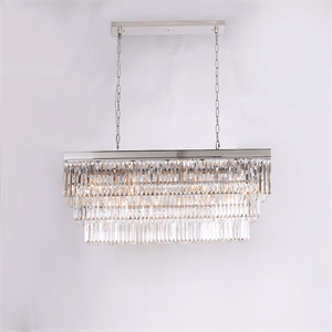 Подвесной светильник Portland, Nickel Clear crystal 120*35*H40/140 cm