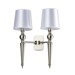Бра American style, Satin nickel Clear crystal Shade white L34.8*H46*Sp19.8 сm