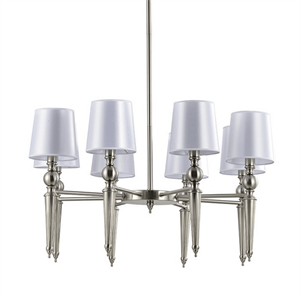 Люстра American style, Satin nickel Clear crystal Shade white D80*H48 сm