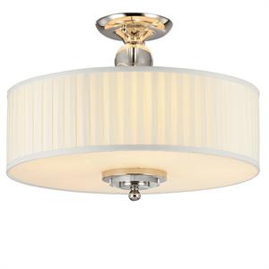Потолочный светильник Milwaukee, Nickel Clear crystal Shade white plisse D50*H38 cm