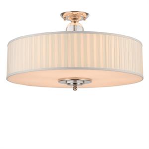 Потолочный светильник Milwaukee, Nickel Clear crystal Shade white plisse D70*H43,5 cm