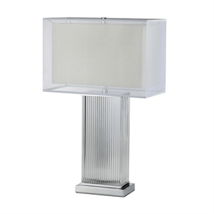 Настольная лампа Kansas City, Chrome Clear glass White/Beige shade L42*20*H68 см