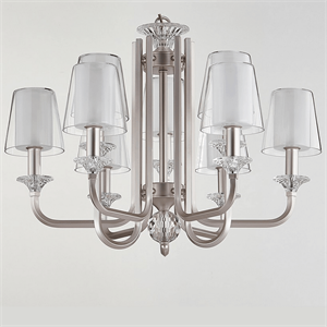 Люстра Lincoln, Silver perla Glass clear/matt white D75,5*H56 cm