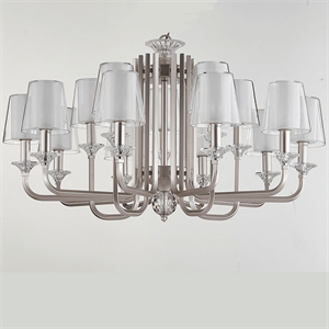 Люстра Lincoln, Silver perla Glass clear/matt white D102*H47 cm