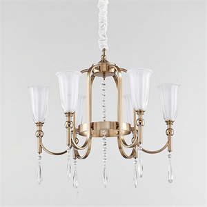 Люстра Anchorage, French gold Clear crystal Matt white glass D55*H35 cm