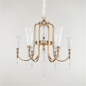 Люстра Anchorage, French gold Clear crystal Matt white glass D66*H48 cm