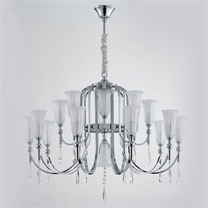 Люстра Anchorage, French gold Clear crystal Matt white glass D90*H50 cm